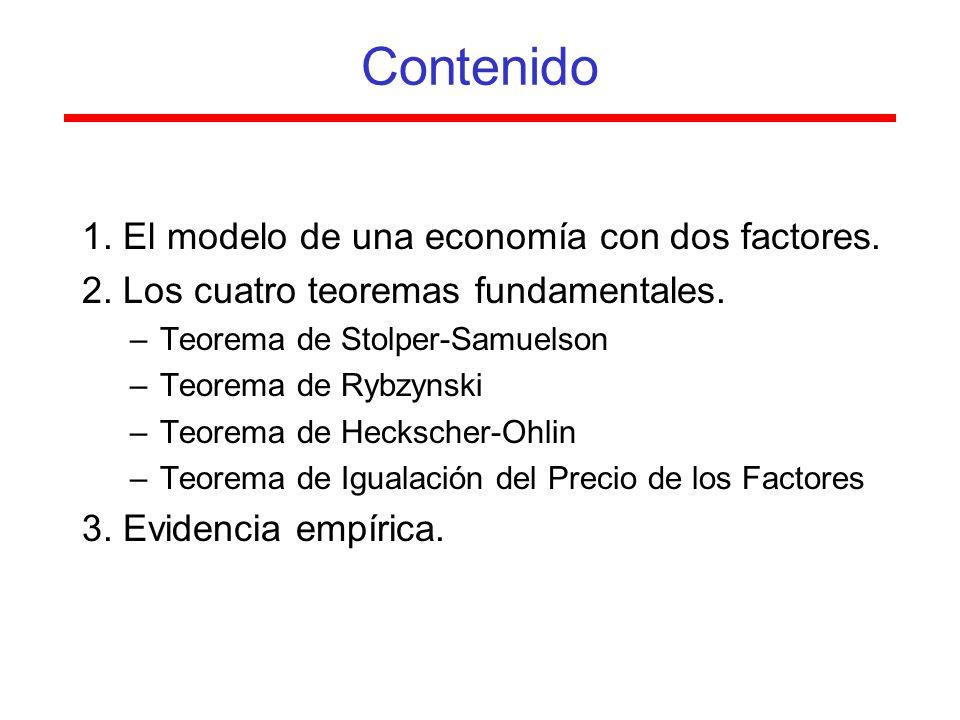 Contenido 1. El modelo de una economía con dos factores.