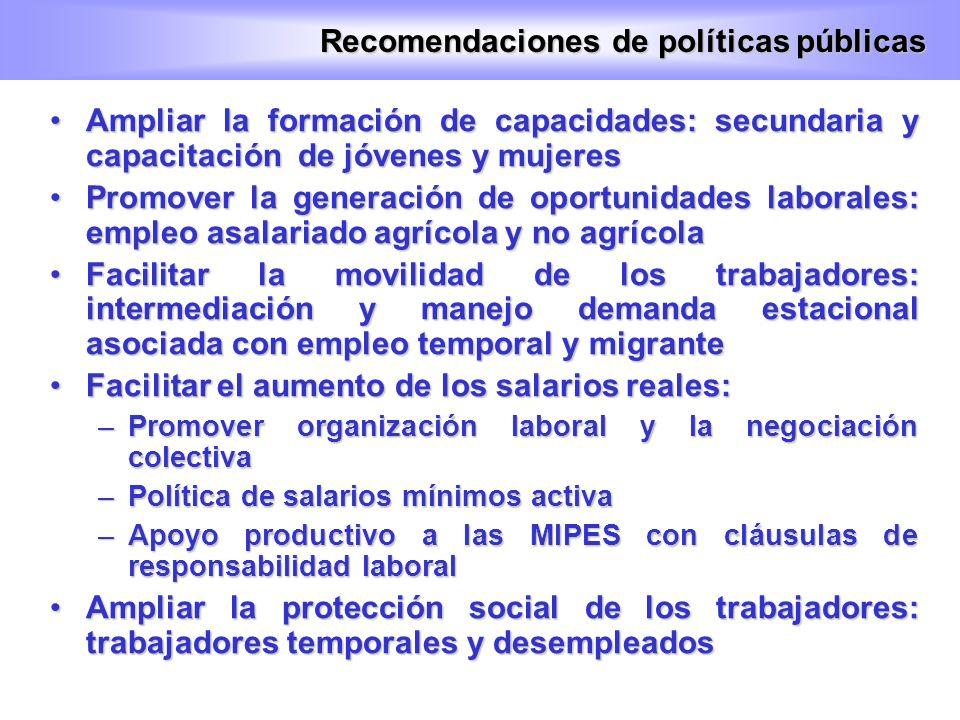 Recomendaciones de políticas públicas