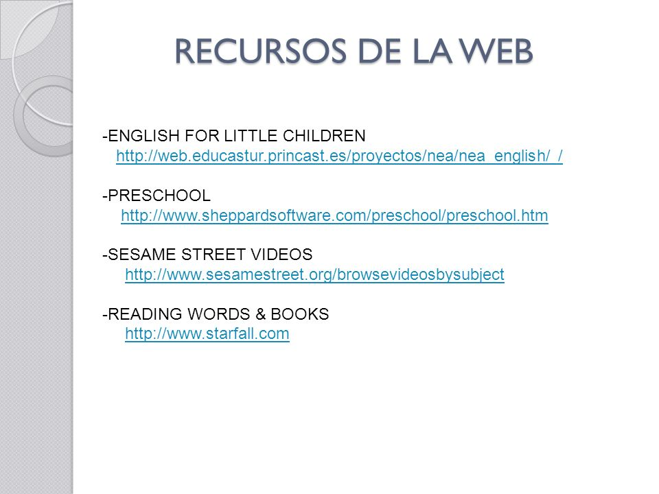RECURSOS DE LA WEB ENGLISH FOR LITTLE CHILDREN