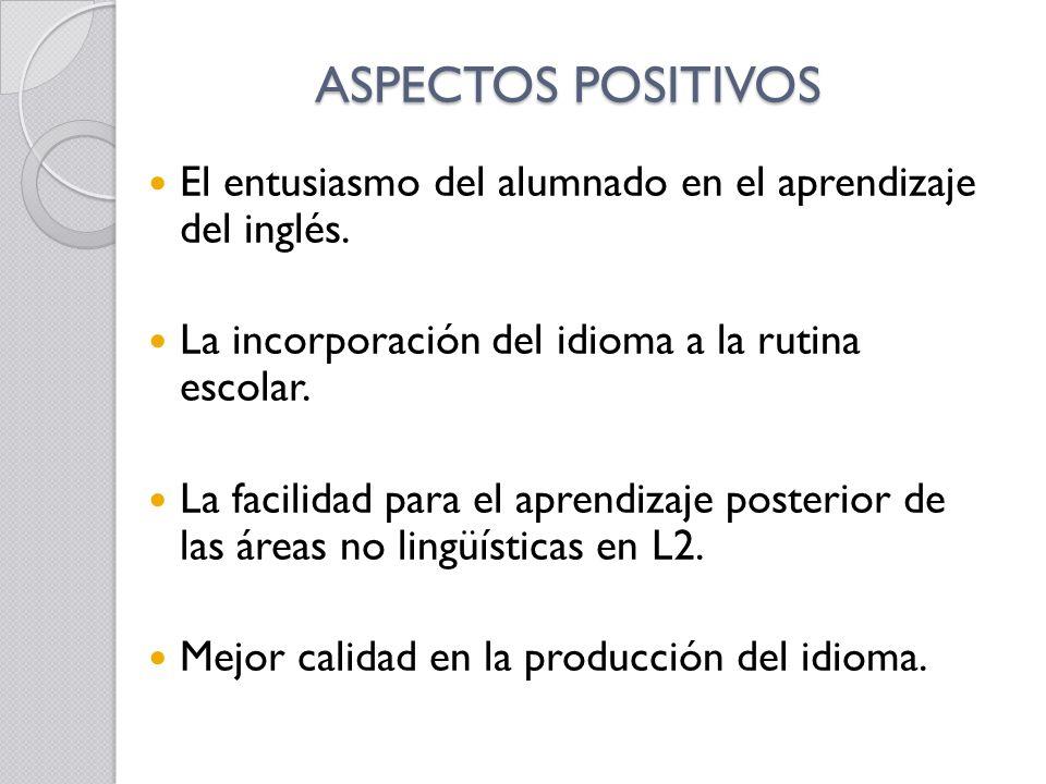 ASPECTOS POSITIVOS El entusiasmo del alumnado en el aprendizaje del inglés. La incorporación del idioma a la rutina escolar.