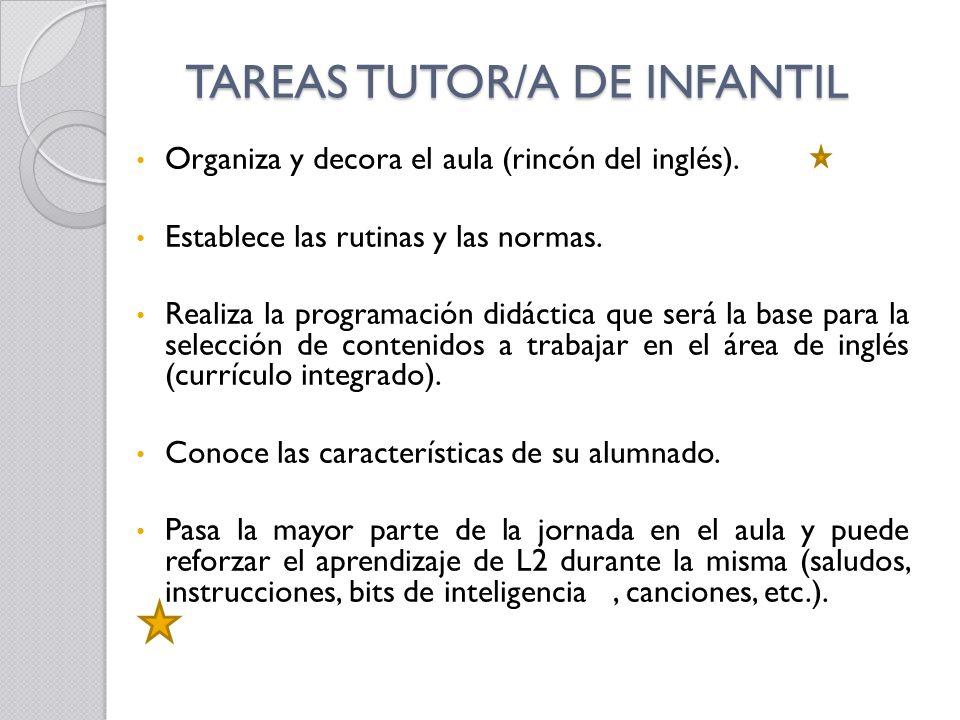 TAREAS TUTOR/A DE INFANTIL