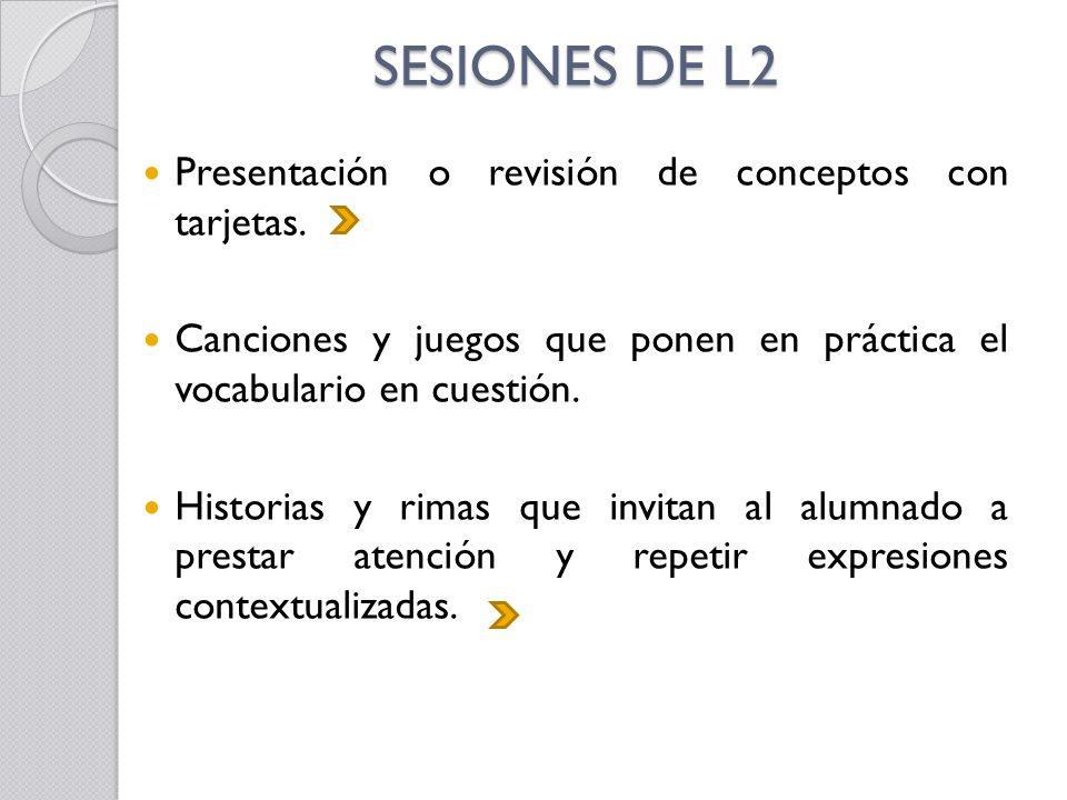 SESIONES DE L2 Presentación o revisión de conceptos con tarjetas.