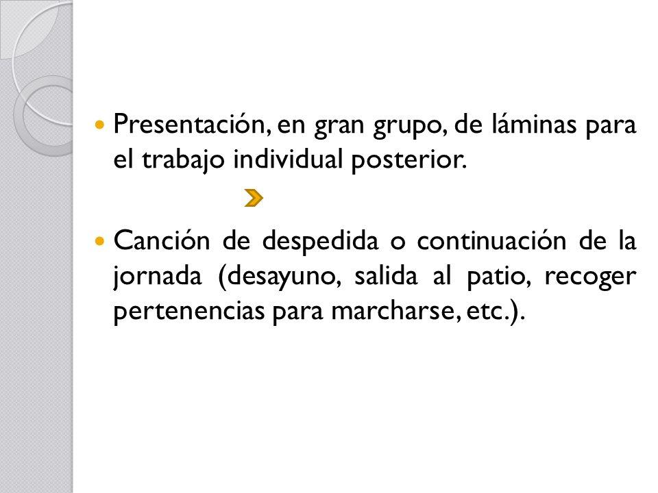 Presentación, en gran grupo, de láminas para el trabajo individual posterior.