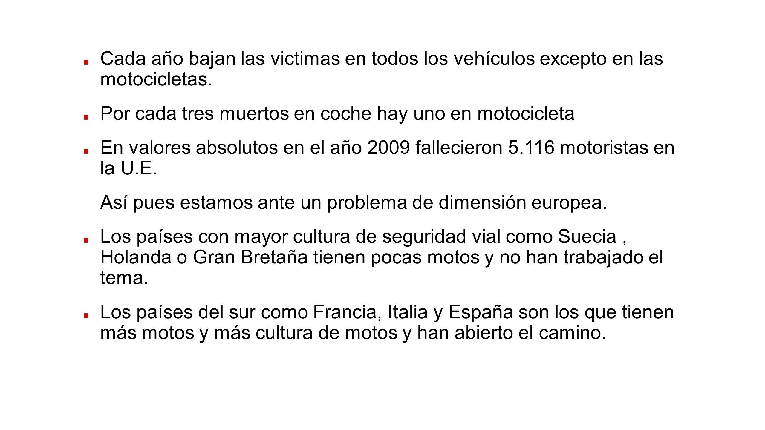 Cada año bajan las victimas en todos los vehículos excepto en las motocicletas.