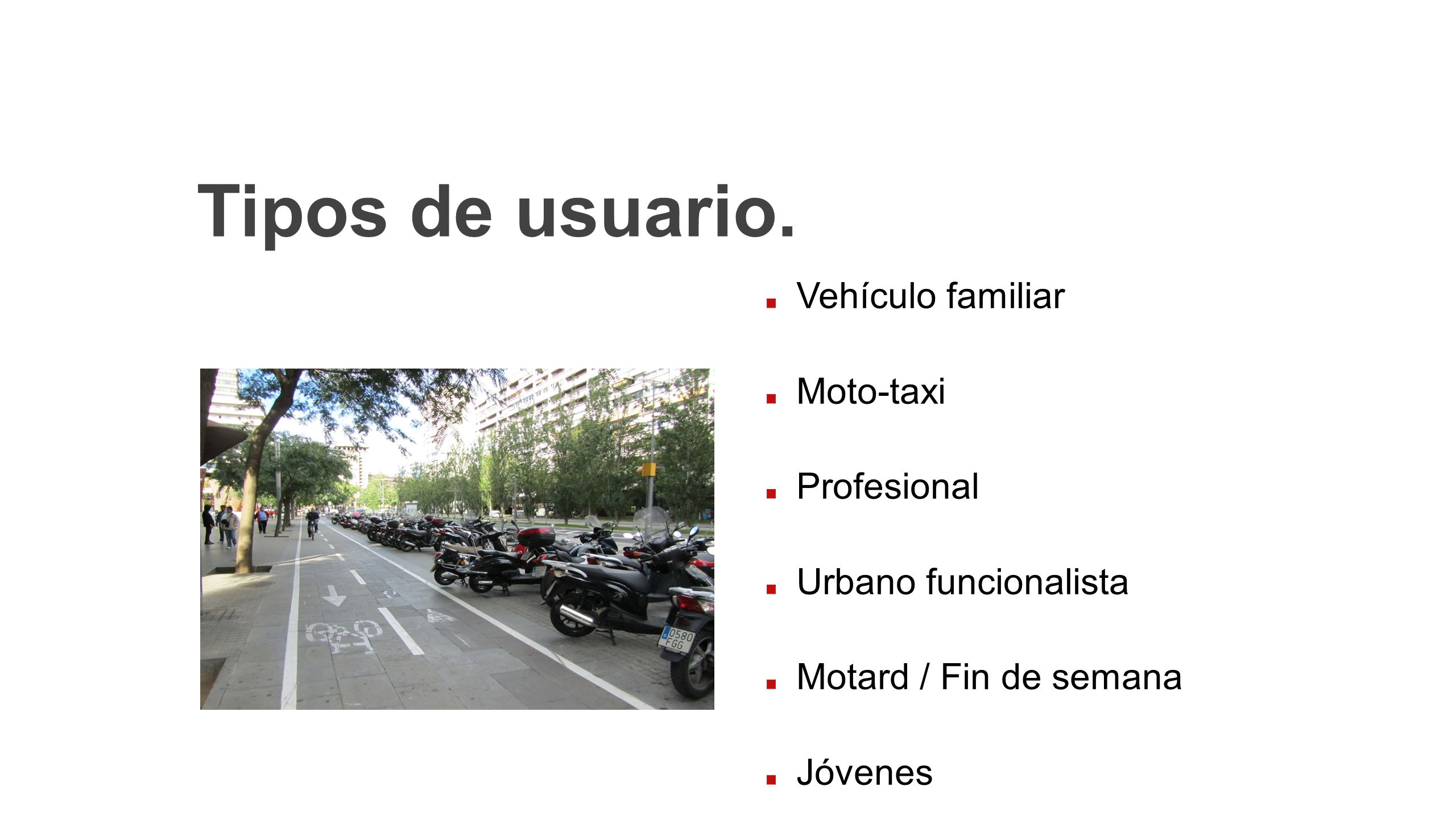 Tipos de usuario. Vehículo familiar Moto-taxi Profesional