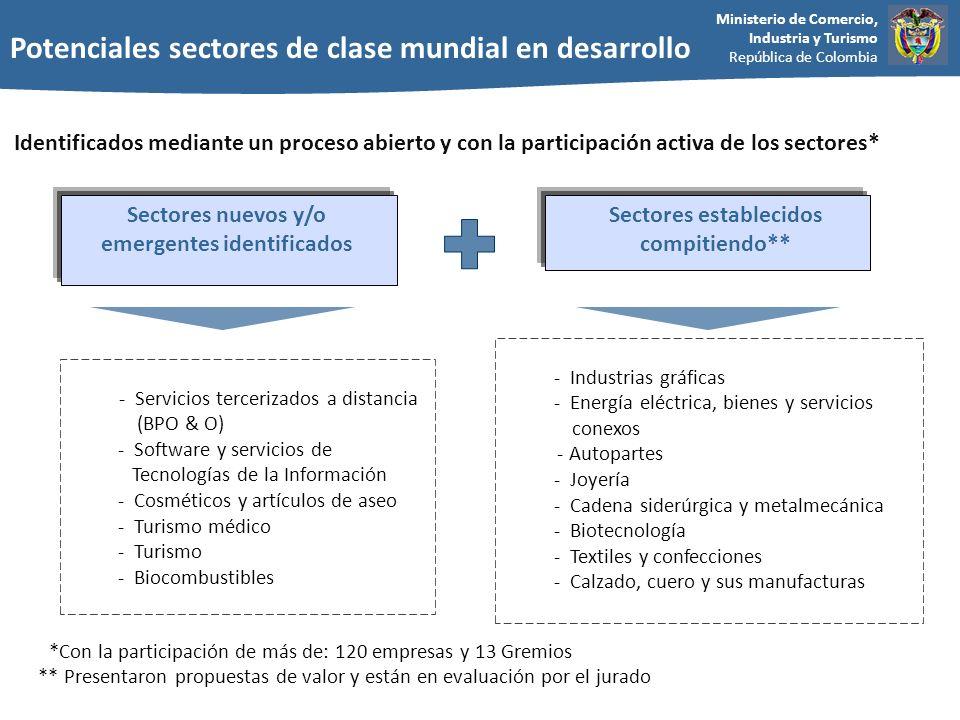 Potenciales sectores de clase mundial en desarrollo