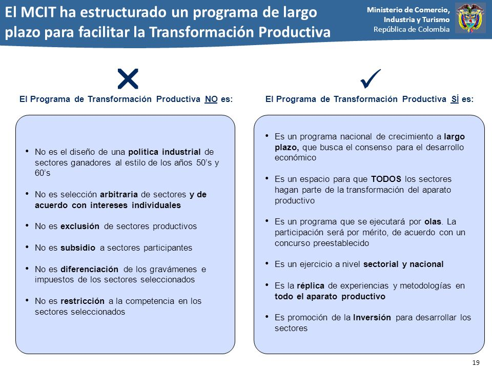 El MCIT ha estructurado un programa de largo plazo para facilitar la Transformación Productiva
