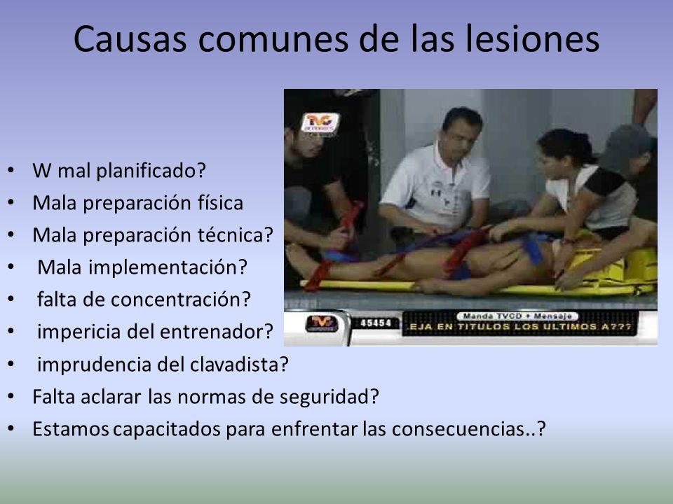 Causas comunes de las lesiones