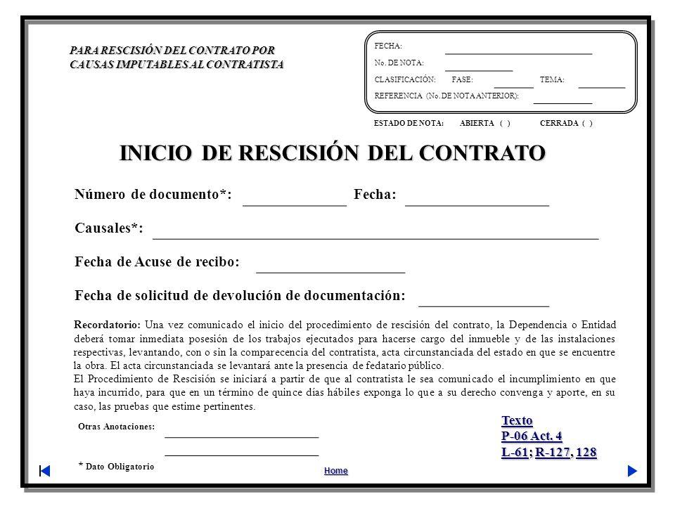 INICIO DE RESCISIÓN DEL CONTRATO