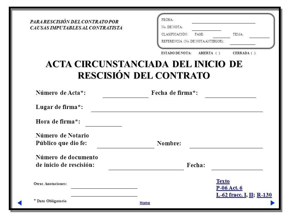 ACTA CIRCUNSTANCIADA DEL INICIO DE RESCISIÓN DEL CONTRATO