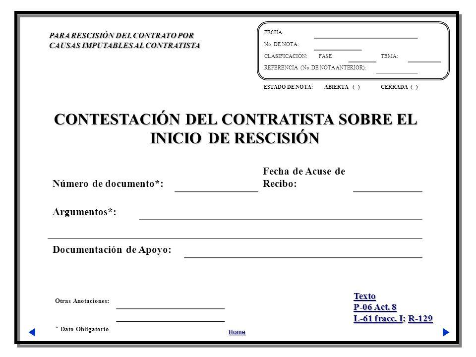 CONTESTACIÓN DEL CONTRATISTA SOBRE EL INICIO DE RESCISIÓN