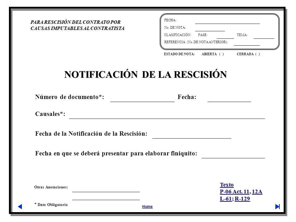 NOTIFICACIÓN DE LA RESCISIÓN