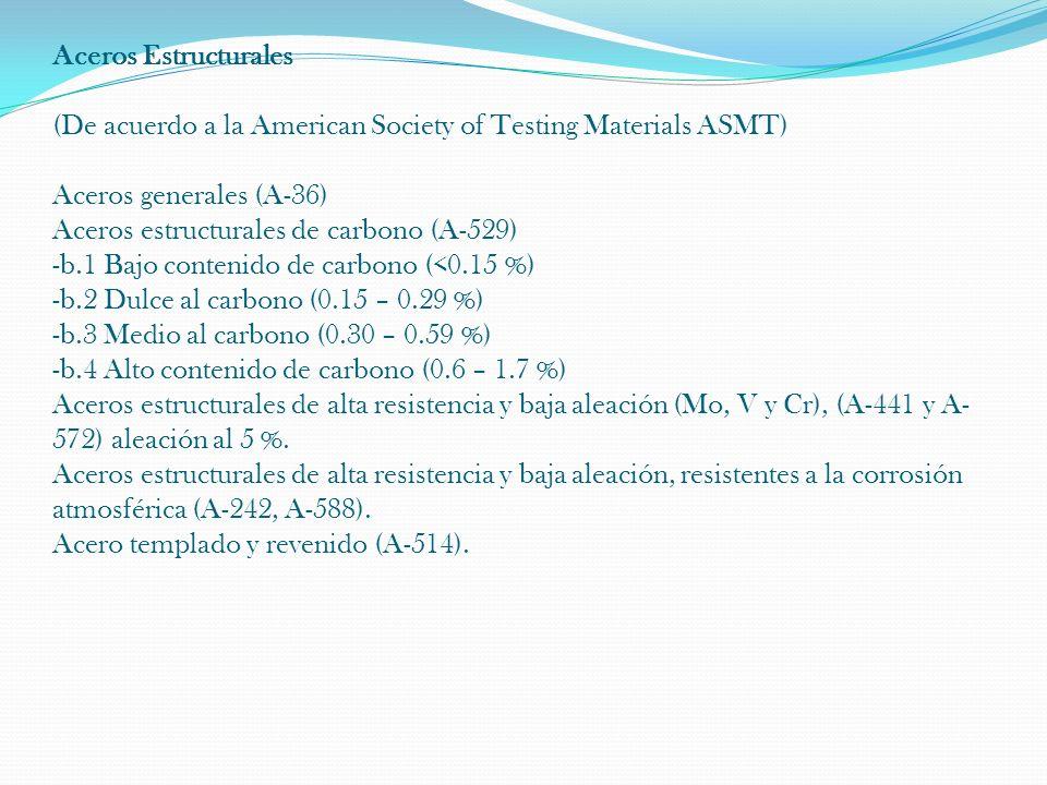 Aceros Estructurales (De acuerdo a la American Society of Testing Materials ASMT) Aceros generales (A-36) Aceros estructurales de carbono (A-529) -b.1 Bajo contenido de carbono (<0.15 %) -b.2 Dulce al carbono (0.15 – 0.29 %) -b.3 Medio al carbono (0.30 – 0.59 %) -b.4 Alto contenido de carbono (0.6 – 1.7 %) Aceros estructurales de alta resistencia y baja aleación (Mo, V y Cr), (A-441 y A-572) aleación al 5 %.