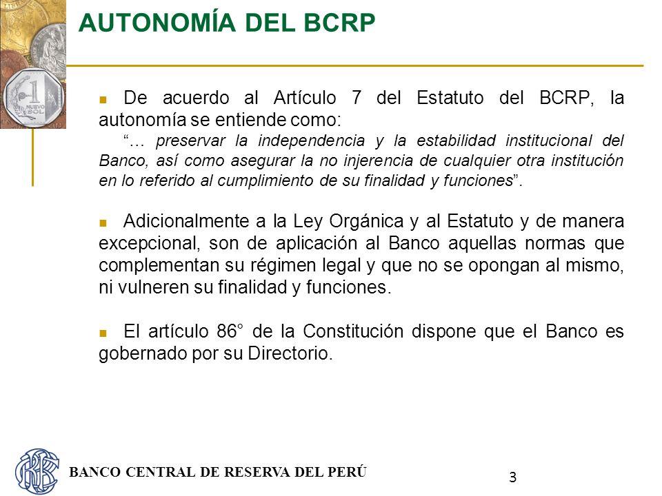 AUTONOMÍA DEL BCRP De acuerdo al Artículo 7 del Estatuto del BCRP, la autonomía se entiende como: