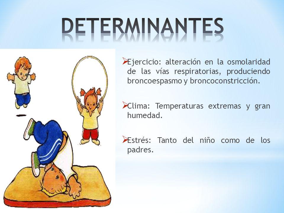 DETERMINANTES Ejercicio: alteración en la osmolaridad de las vías respiratorias, produciendo broncoespasmo y broncoconstricción.