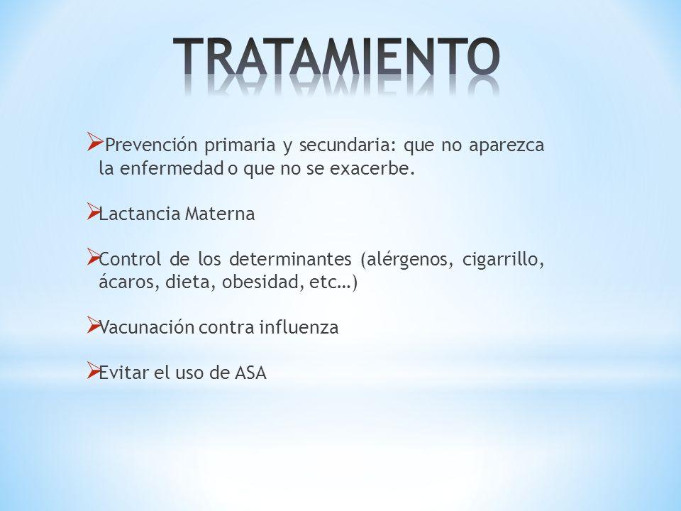 TRATAMIENTO Prevención primaria y secundaria: que no aparezca la enfermedad o que no se exacerbe. Lactancia Materna.