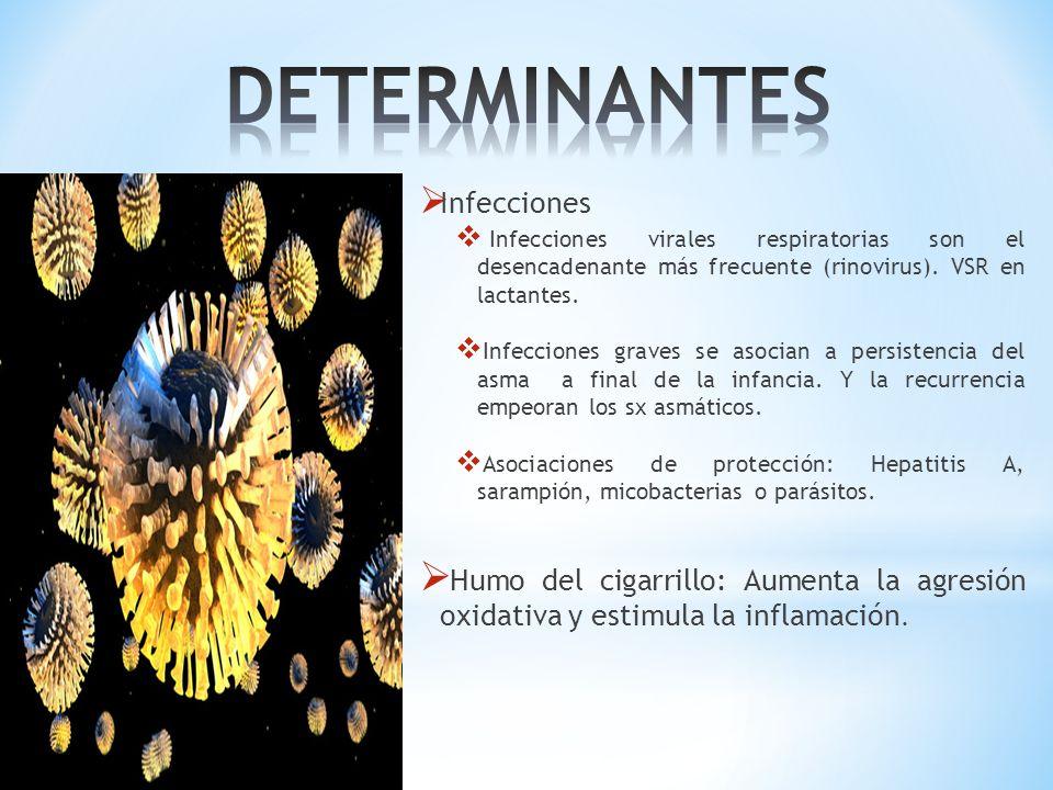 DETERMINANTES Infecciones. Infecciones virales respiratorias son el desencadenante más frecuente (rinovirus). VSR en lactantes.