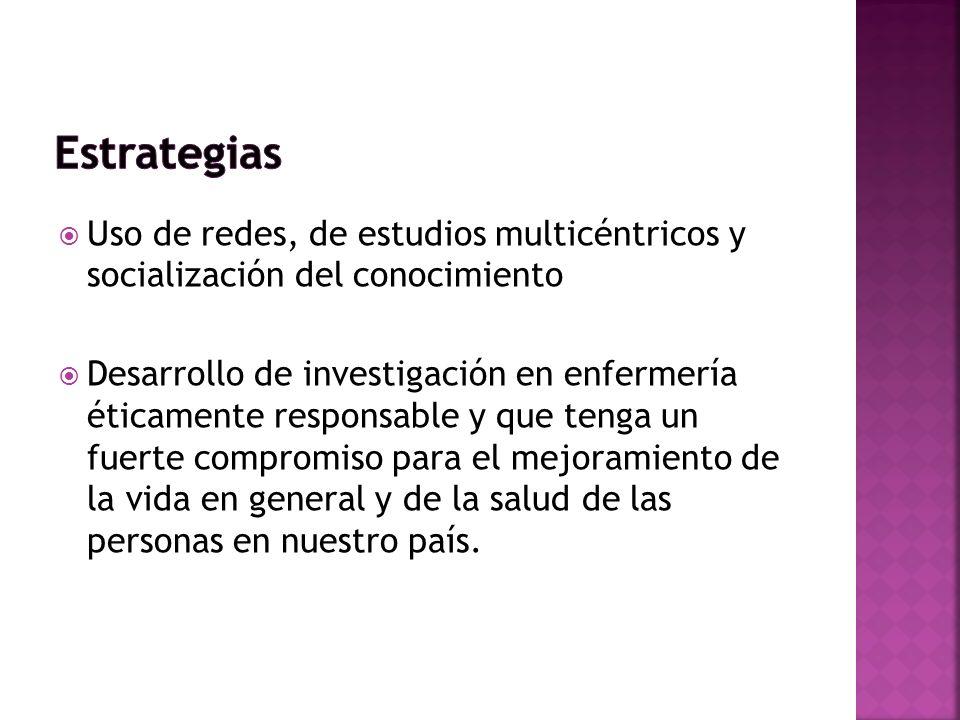 Estrategias Uso de redes, de estudios multicéntricos y socialización del conocimiento.