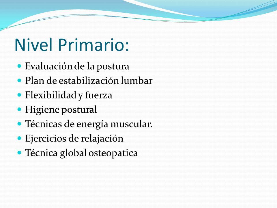 Nivel Primario: Evaluación de la postura Plan de estabilización lumbar