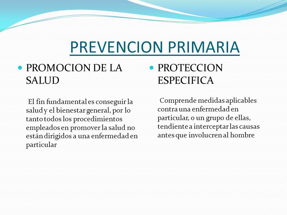 PREVENCION PRIMARIA PROMOCION DE LA SALUD PROTECCION ESPECIFICA