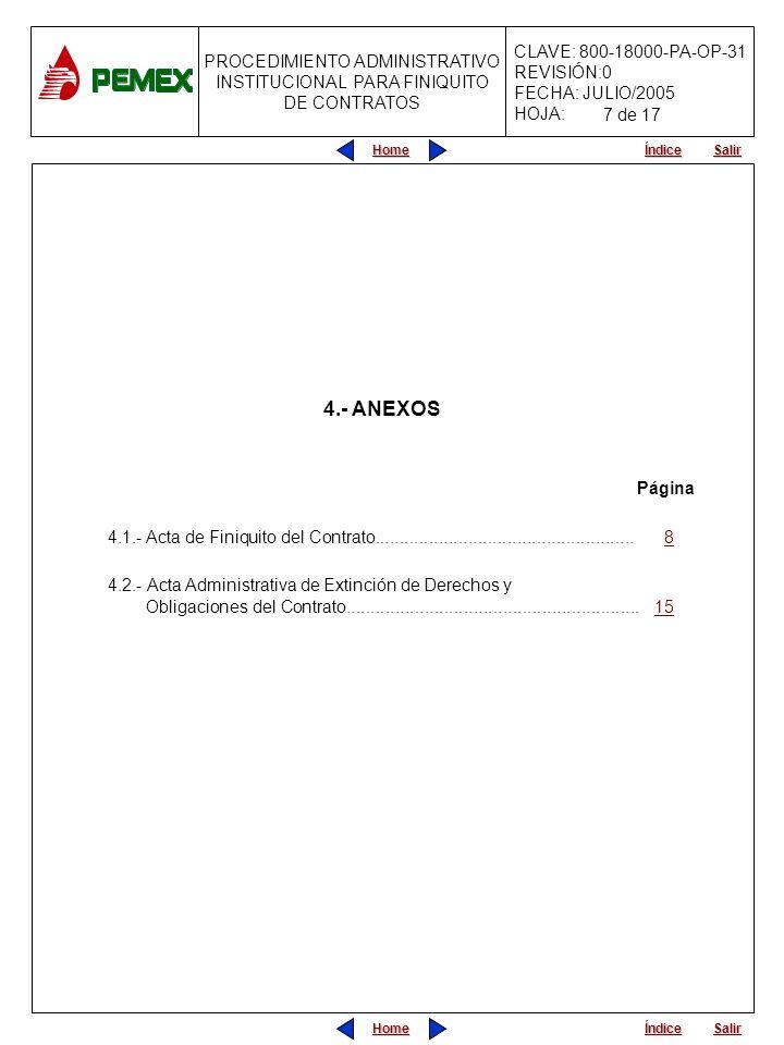 7 de 17 4.- ANEXOS. Página. 4.1.- Acta de Finiquito del Contrato..................................................... 8.