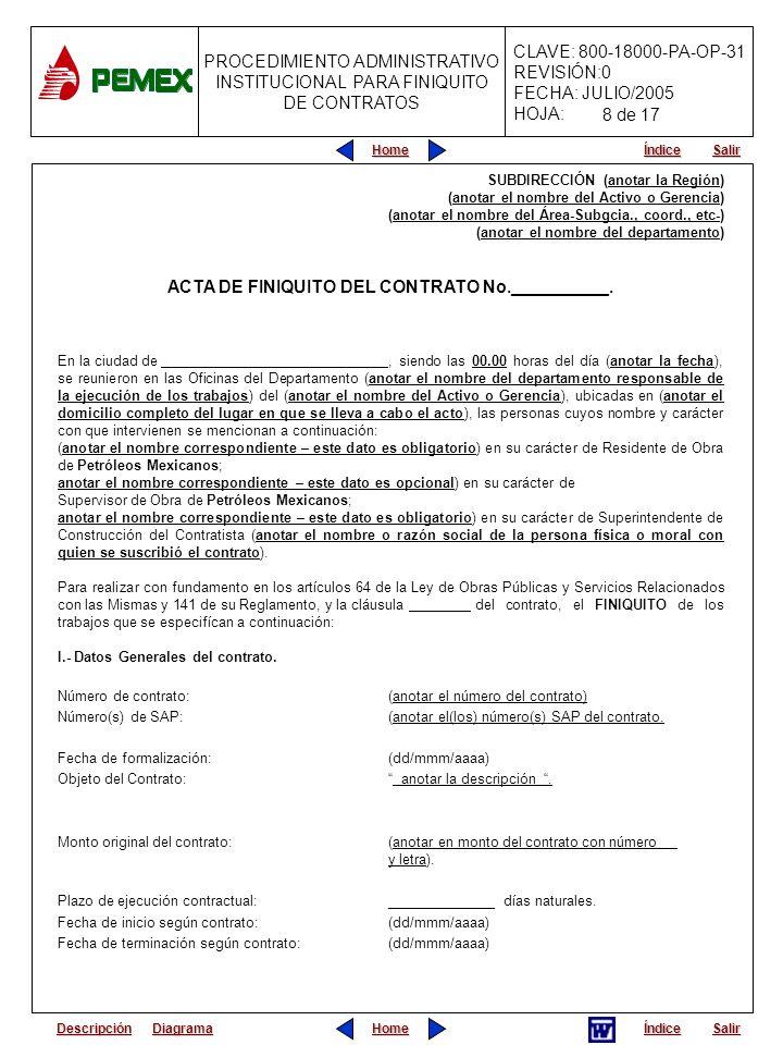 ACTA DE FINIQUITO DEL CONTRATO No.__________.