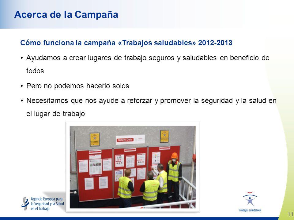 Acerca de la Campaña Cómo funciona la campaña «Trabajos saludables» 2012-2013.