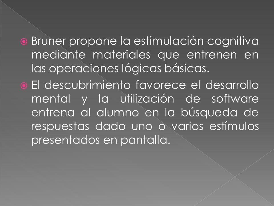 Bruner propone la estimulación cognitiva mediante materiales que entrenen en las operaciones lógicas básicas.