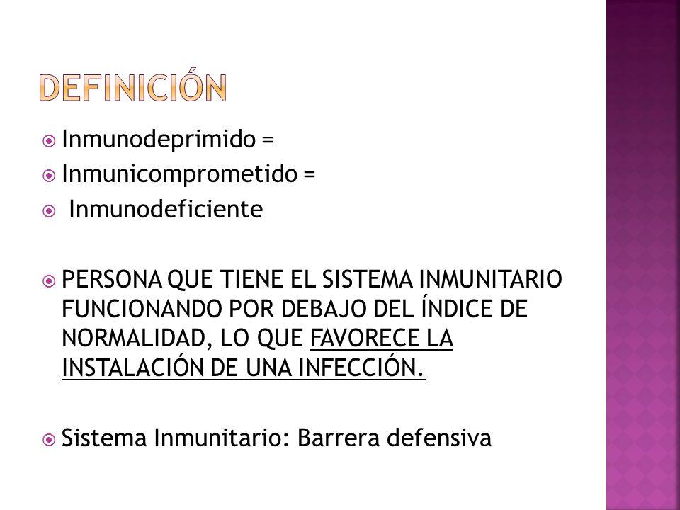 DEFINICIÓN Inmunodeprimido = Inmunicomprometido = Inmunodeficiente