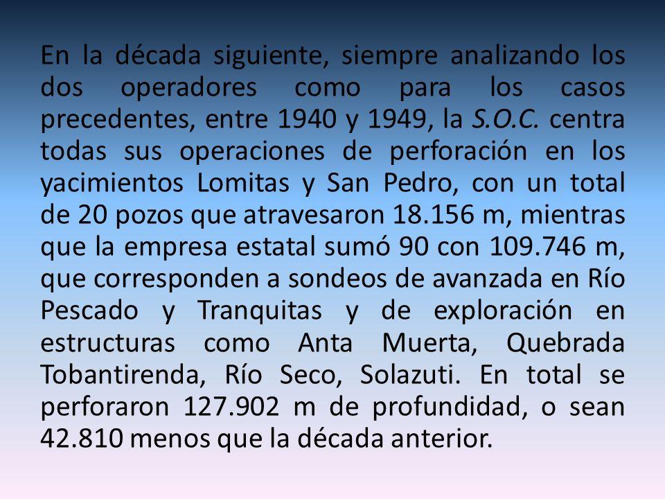 En la década siguiente, siempre analizando los dos operadores como para los casos precedentes, entre 1940 y 1949, la S.O.C.