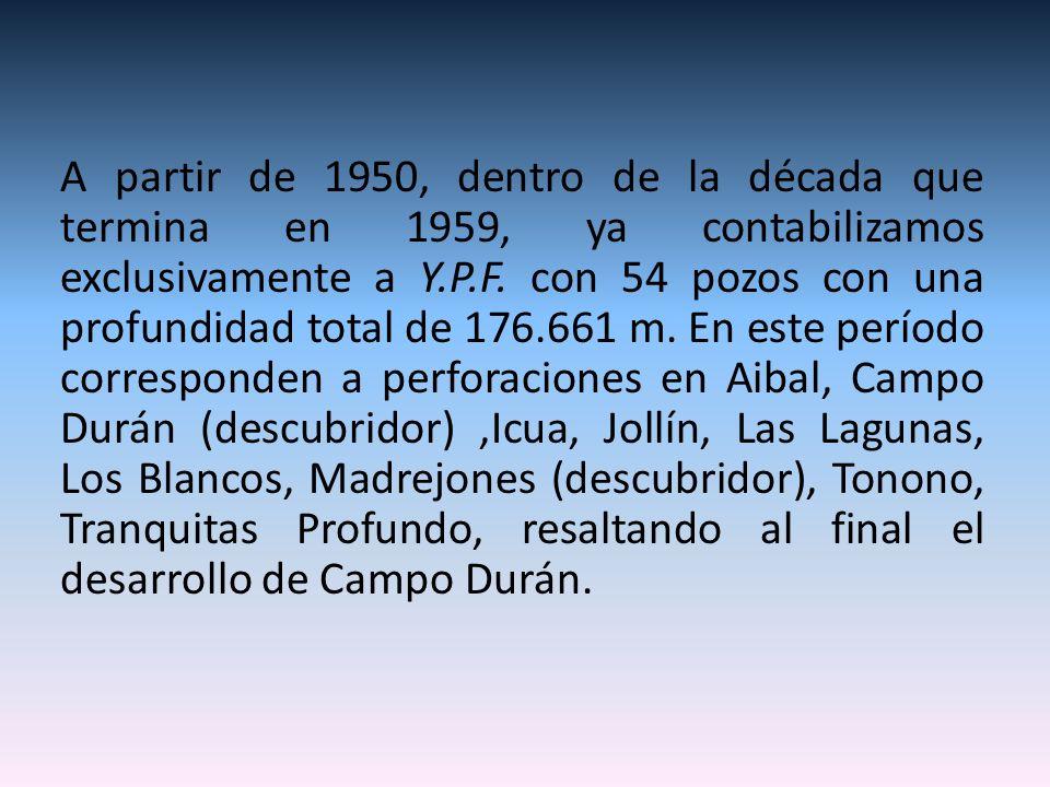A partir de 1950, dentro de la década que termina en 1959, ya contabilizamos exclusivamente a Y.P.F.