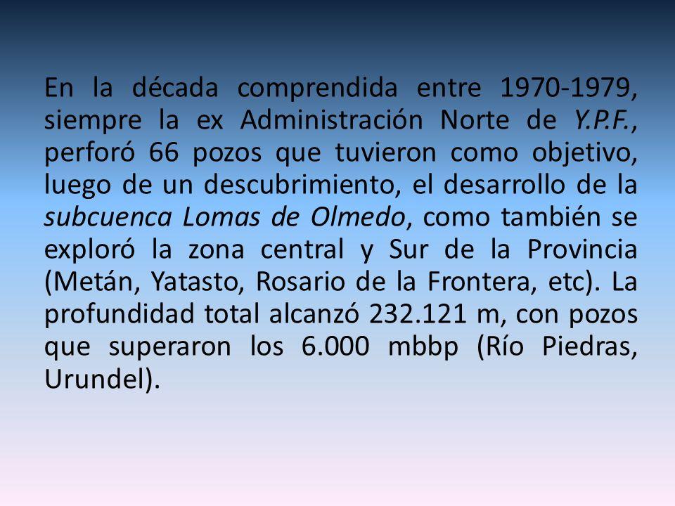 En la década comprendida entre 1970-1979, siempre la ex Administración Norte de Y.P.F., perforó 66 pozos que tuvieron como objetivo, luego de un descubrimiento, el desarrollo de la subcuenca Lomas de Olmedo, como también se exploró la zona central y Sur de la Provincia (Metán, Yatasto, Rosario de la Frontera, etc).