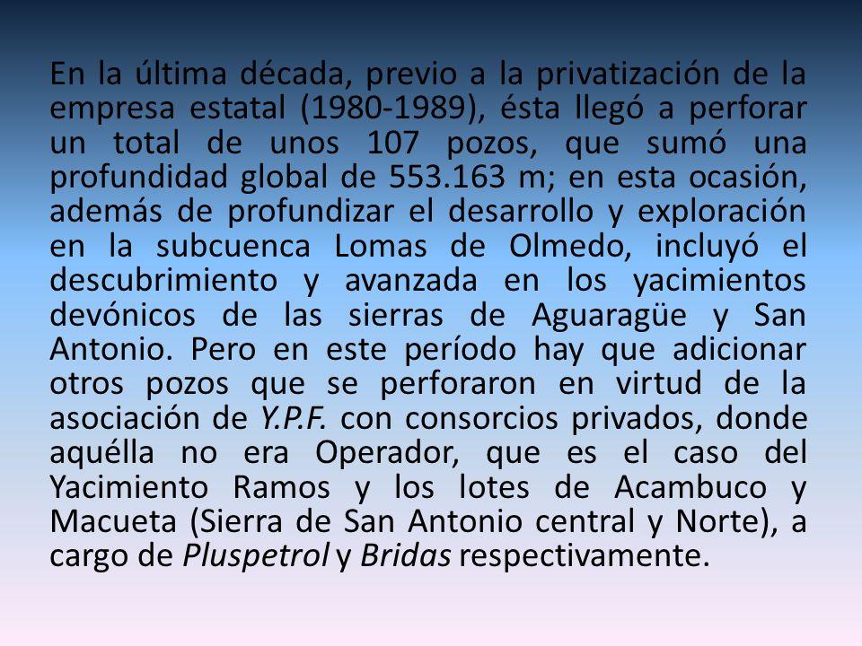 En la última década, previo a la privatización de la empresa estatal (1980-1989), ésta llegó a perforar un total de unos 107 pozos, que sumó una profundidad global de 553.163 m; en esta ocasión, además de profundizar el desarrollo y exploración en la subcuenca Lomas de Olmedo, incluyó el descubrimiento y avanzada en los yacimientos devónicos de las sierras de Aguaragüe y San Antonio.