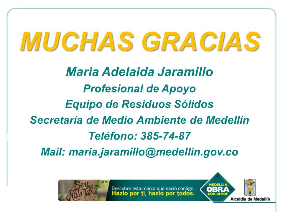 MUCHAS GRACIAS Maria Adelaida Jaramillo Profesional de Apoyo