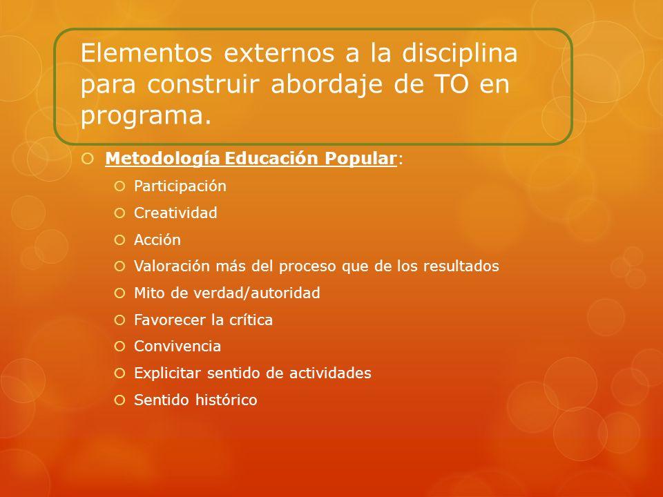 Elementos externos a la disciplina para construir abordaje de TO en programa.
