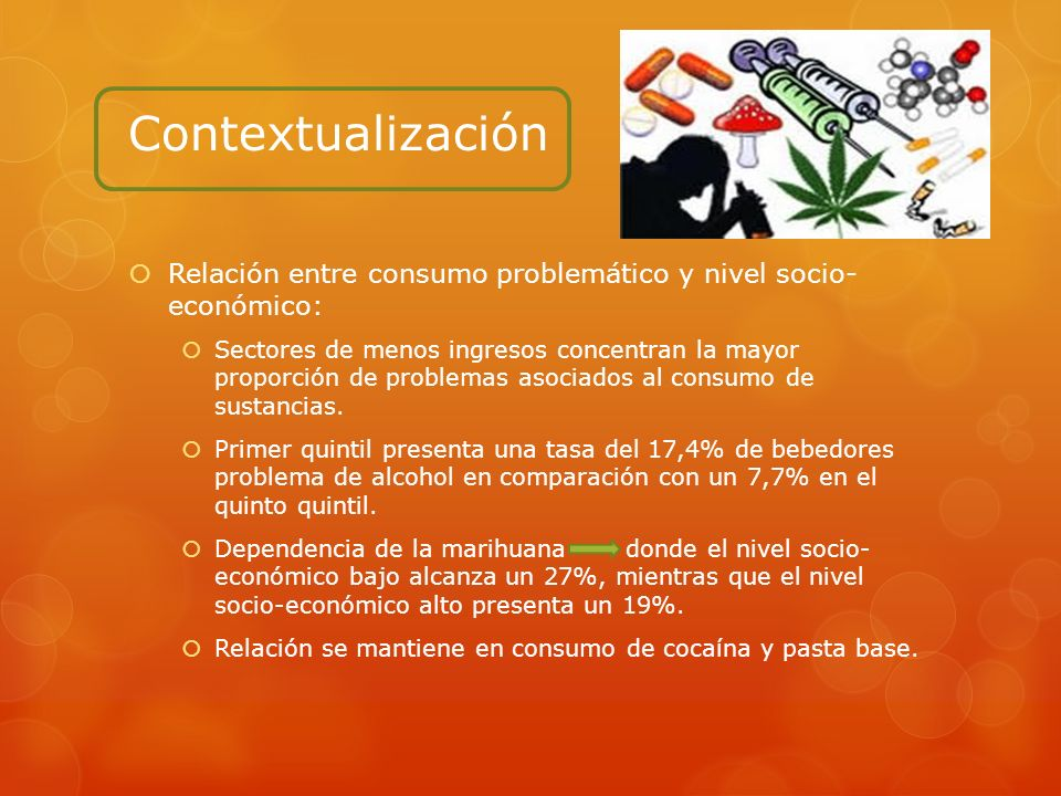 Contextualización Relación entre consumo problemático y nivel socio- económico: