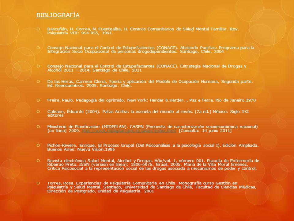 BIBLIOGRAFÍA Bascuñán, H. Correa, N. Fuentealba, H. Centros Comunitarios de Salud Mental Familiar. Rev. Psiquiatría VIII: 954-955, 1991.