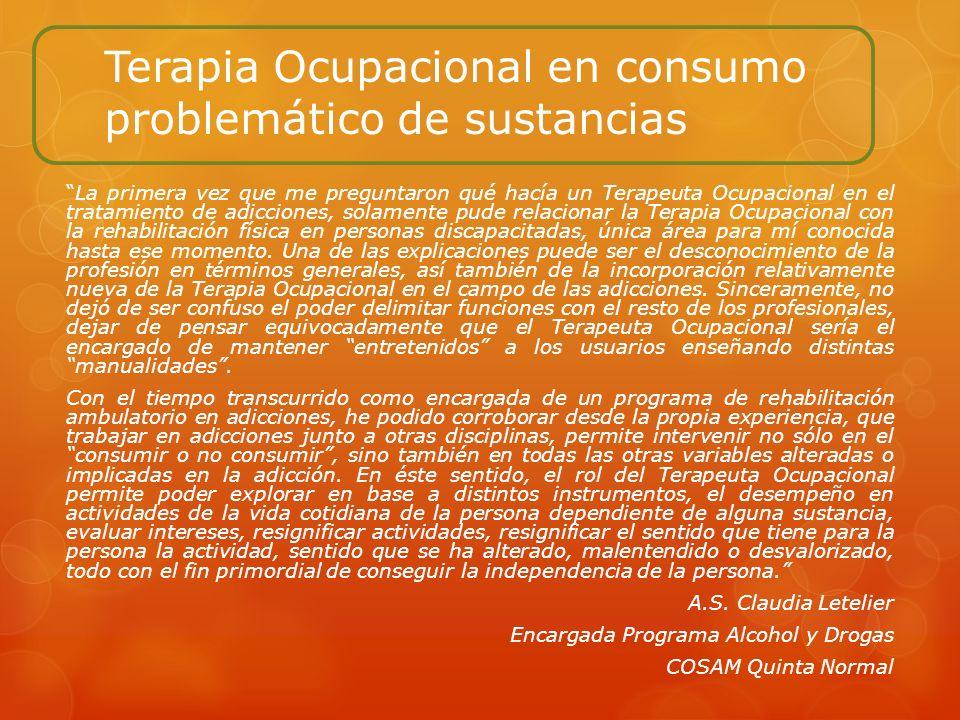 Terapia Ocupacional en consumo problemático de sustancias