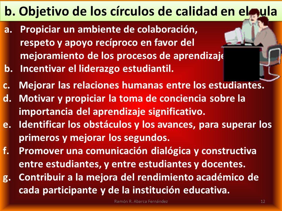 b. Objetivo de los círculos de calidad en el aula