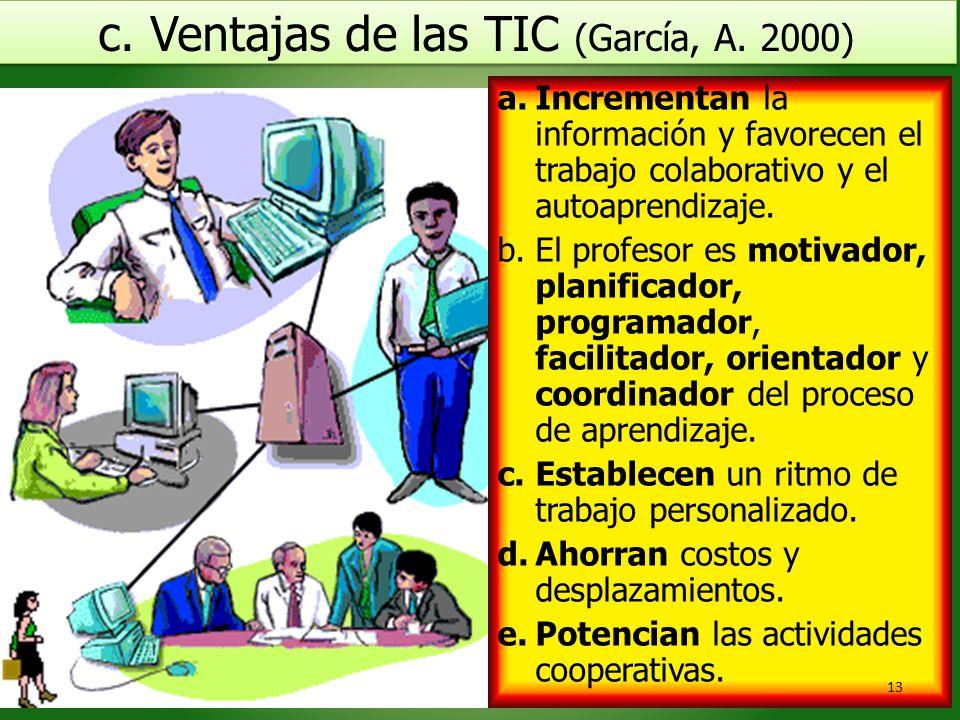 c. Ventajas de las TIC (García, A. 2000)