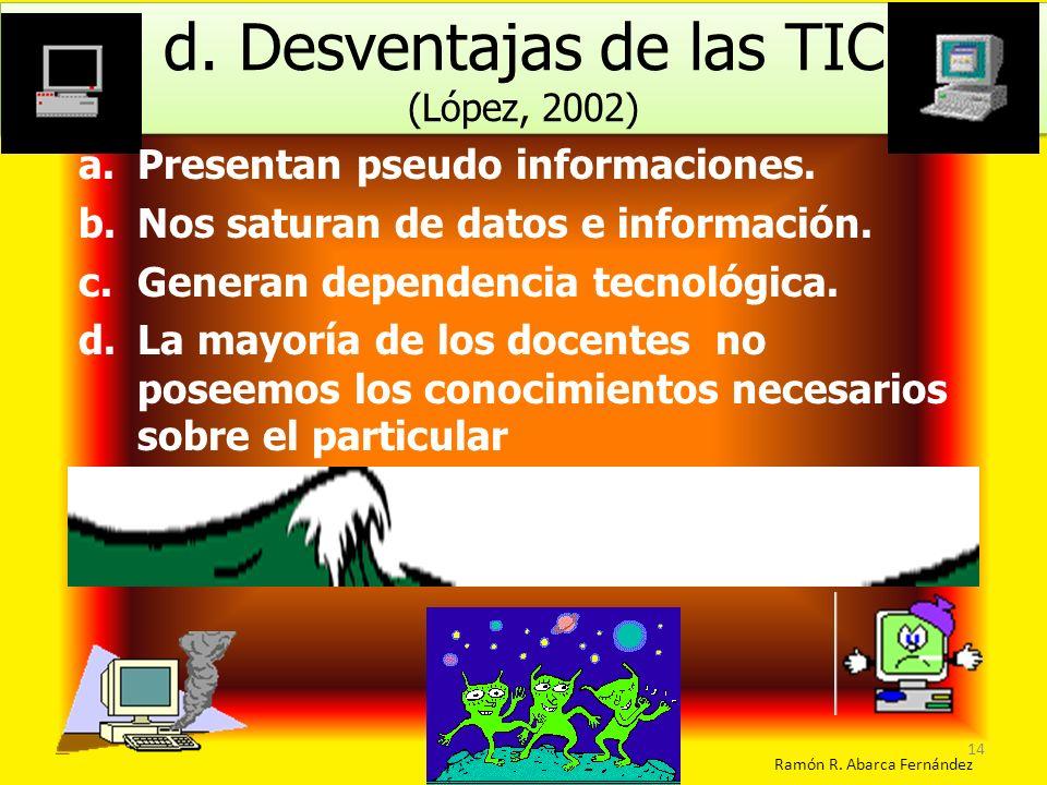 d. Desventajas de las TIC