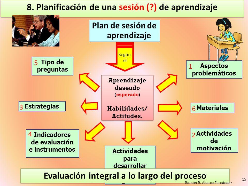 8. Planificación de una sesión ( ) de aprendizaje