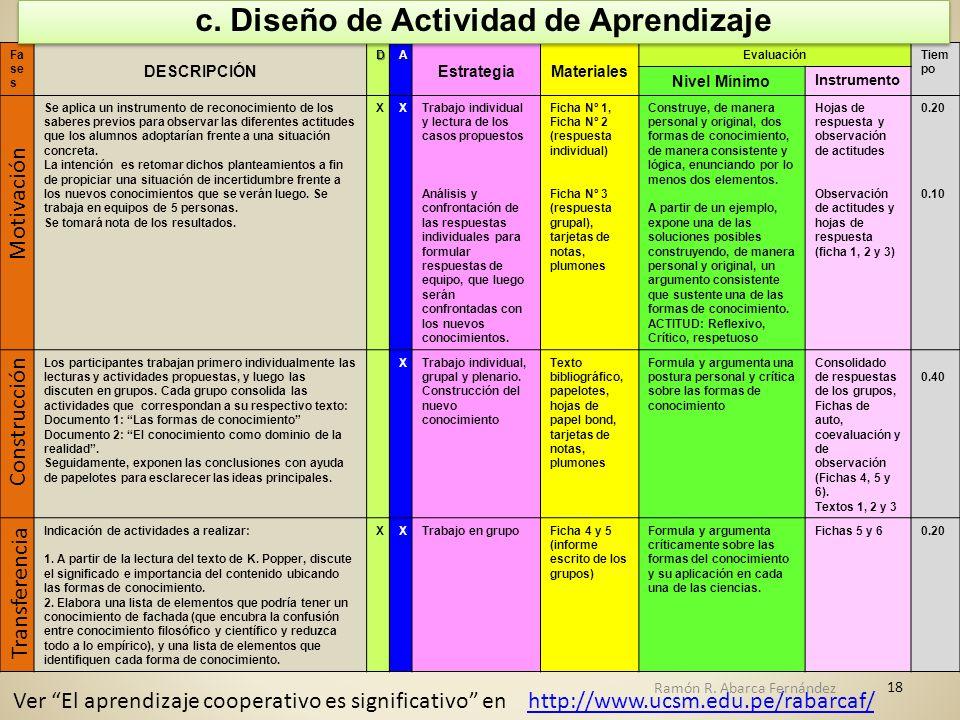c. Diseño de Actividad de Aprendizaje