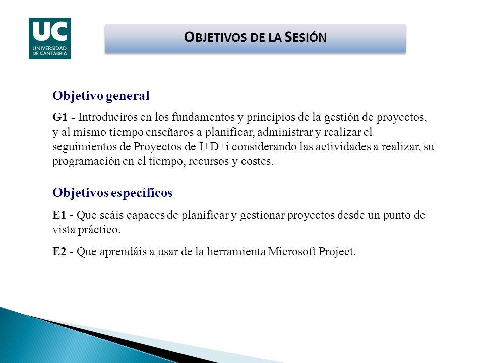 OBJETIVOS DE LA SESIÓN Objetivo general Objetivos específicos