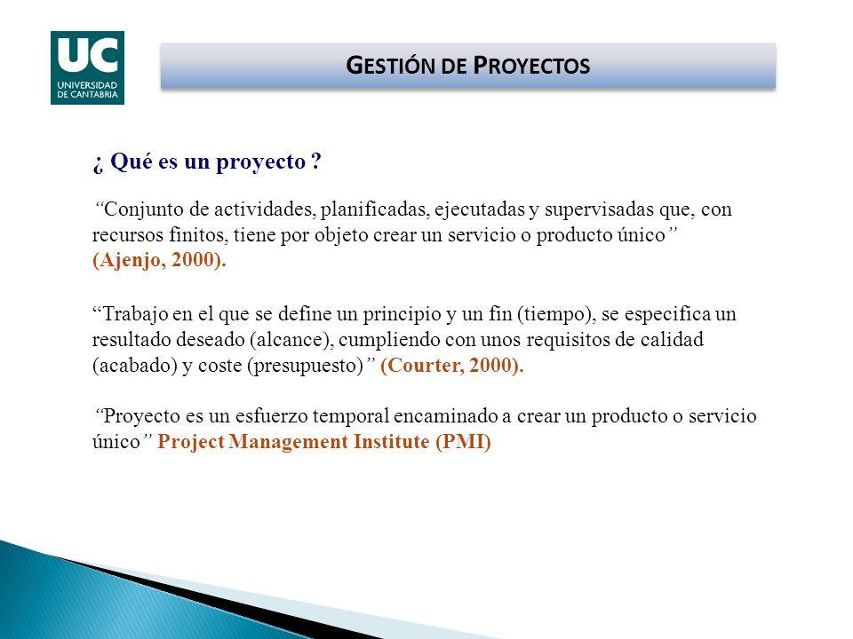 GESTIÓN DE PROYECTOS ¿ Qué es un proyecto