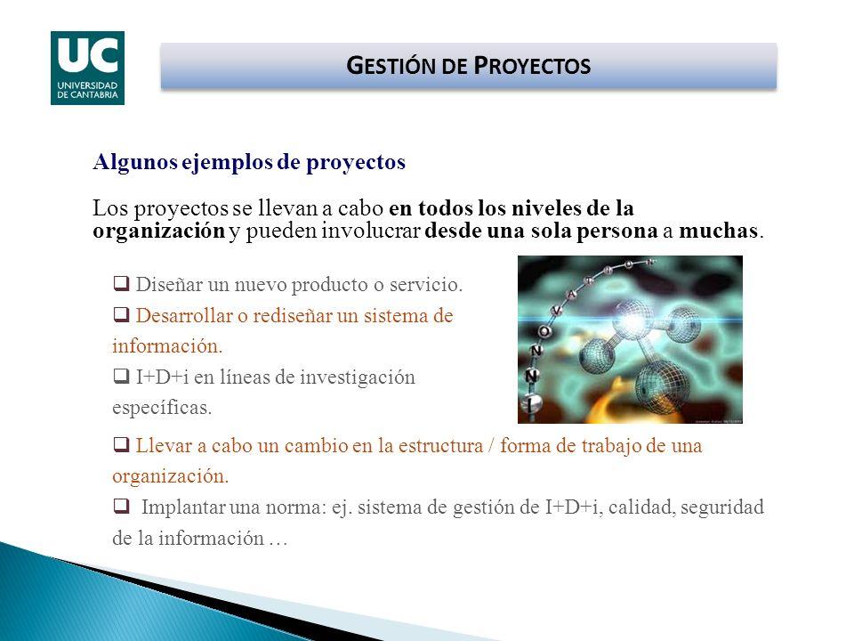 GESTIÓN DE PROYECTOS Algunos ejemplos de proyectos