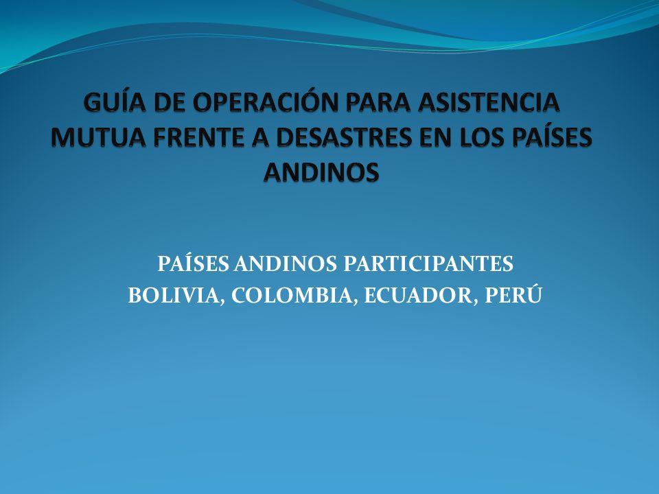 PAÍSES ANDINOS PARTICIPANTES BOLIVIA, COLOMBIA, ECUADOR, PERÚ