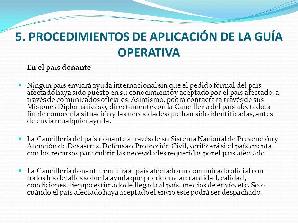 5. PROCEDIMIENTOS DE APLICACIÓN DE LA GUÍA OPERATIVA
