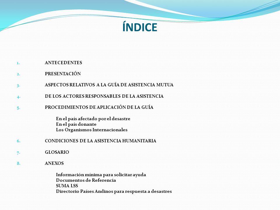 ÍNDICE ANTECEDENTES PRESENTACIÓN