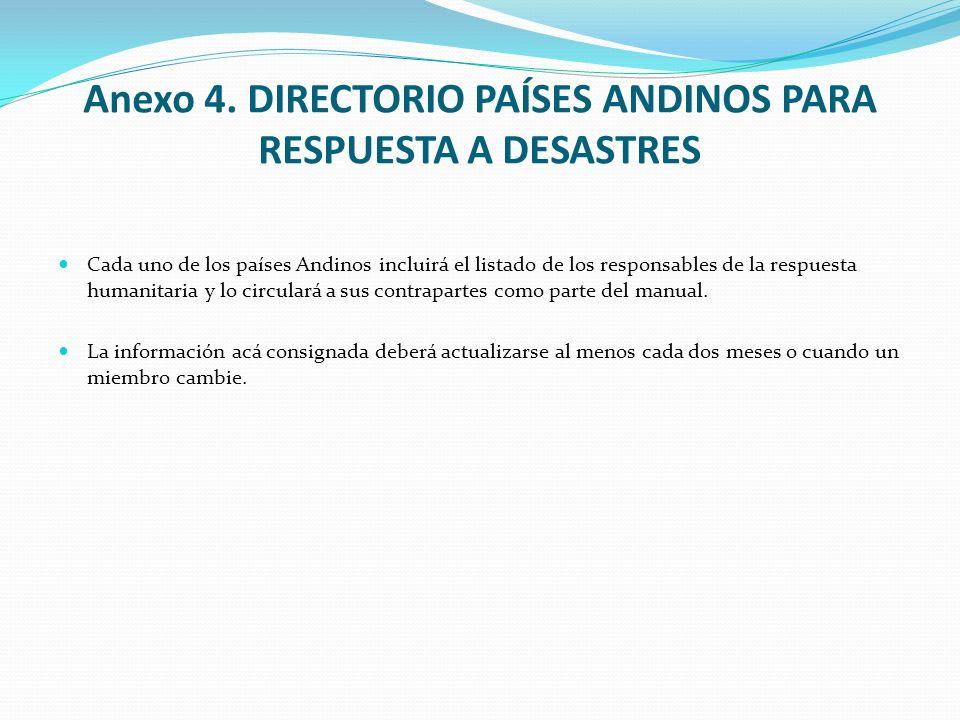 Anexo 4. DIRECTORIO PAÍSES ANDINOS PARA RESPUESTA A DESASTRES